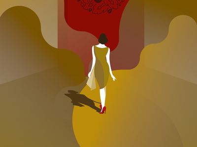 Conquer empowerment geometric shoes red walking woman illustration gold
