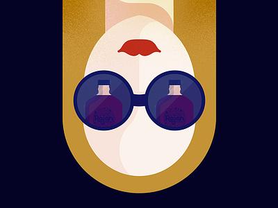 Peek-a-boo lipstick red illustration flat woman juice glasses