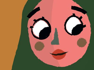 Lady illustration flat crayon woman children character design