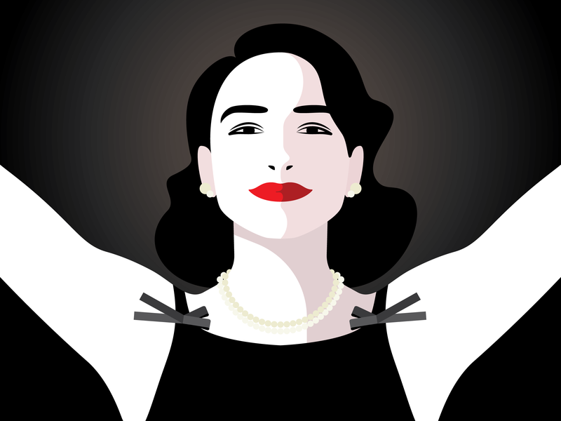 Thank You and Goodnight! mrsmaisel heartbreak woman flat portrait illustration