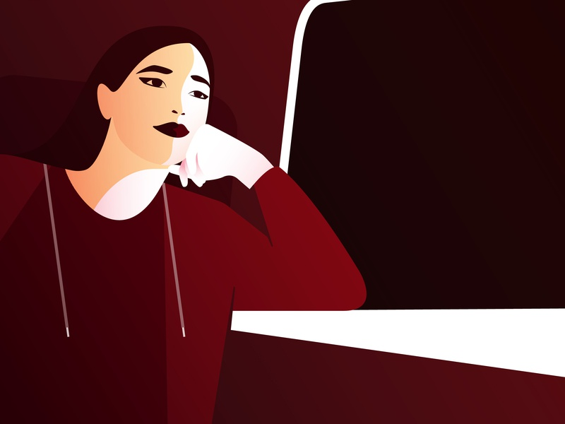 This Time Last Year travelling woman flat portrait illustration