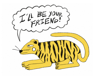 ✣ ㋡ ✳  I'll be your friend  ✳ ㋡ ✣ procreate doodle friend sticker tiger
