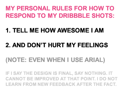 My Dribbble Rules rules satire