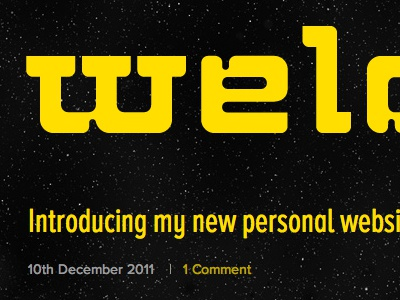Jb Website: Intro post space typography yellow