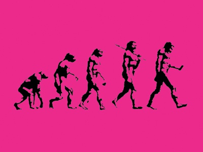 Evolution of Man: Current Status evolution man mobile iphone ipad device print mono magenta