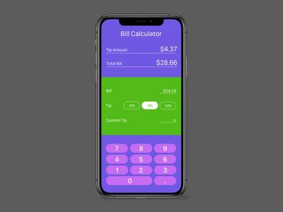 Daily UI, Day 4 –Calculator green purple dailyui calculator bill receipt app ui