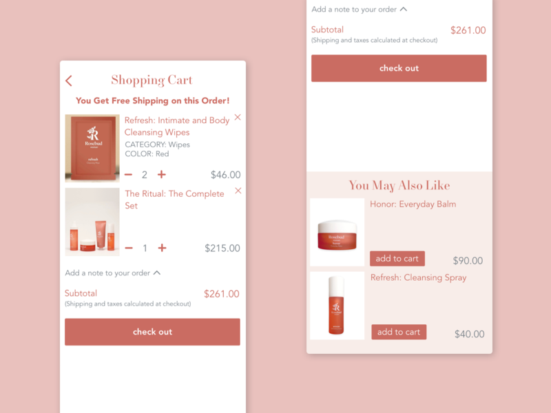 Shopping Cart Drawer pink business ecommerce app upsell ui web mobile ecommerce