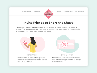 Referral Page illustration business pink ux ecommerce design ui