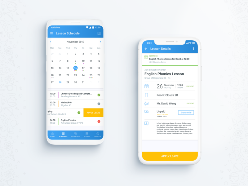 Lessons and courses management app mobile ux school app education app booking system booking app hybrid app rapid prototyping material design material ui react native mobile app design mobile app