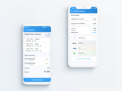 Payments - Lesson & courses management app