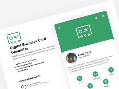 Digital Business Card Generator (dbizcard) affinity designer 2020 html5 javascript nuxt vuejs uxui ux ui website design webapplication webapp design webapp generator business cards businesscard business digital