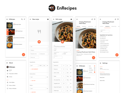 EnRecipes work in progress wip opensource free uidesign materialdesign material ui android recipes app cookbook 2020 affinity ux ui affinity designer
