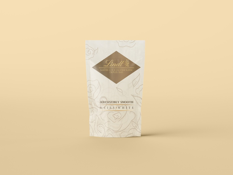 Lindt - Weiss White (Concept of small bars by lindt) weekly warm-up 3 weekly warm-up branding minimal illustrator illustration flat design animation white chocolate lindt chocolate packaging chocolate bar chocolate packaging