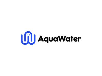 Aqua Water tech company luxury band minimal brand logo design agency logodesigner connect network logo design logo branding agency branding app logo abstract logo