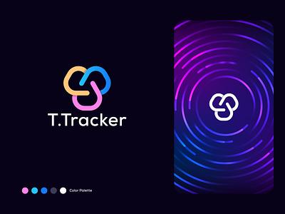 T.Tracker logo designer vibrant minimalistic modern top designer logo design agency network connect tech logo tech minimal brand logo branding agency branding app logo abstract logo