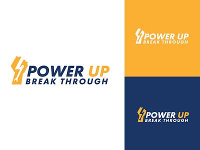 Powerup,Break through logo design logotype logodesign brand design brand identity design branding typography vector logo
