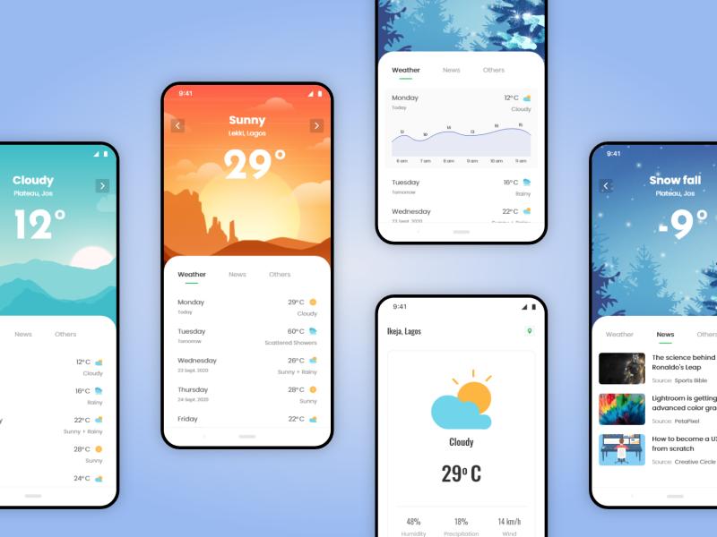 Weather Forecast App Exploration app interface conceptual adobexd mobile ui design ui