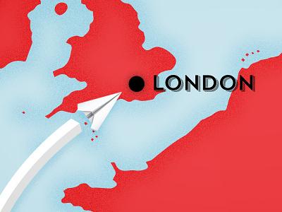 World Map - London map england grain noise paper plane location illustration animation