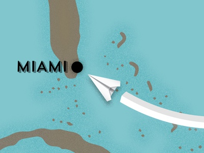 World Map - Miami noise grain miami map paper plane location illustration animation