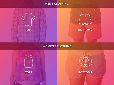Menswear / Womenswear mobile clothing catalogue categories brand shop product ui website menu navigation