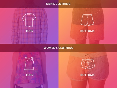 Menswear / Womenswear mobile clothing catalogue categories brand shop product ui website menu navigation