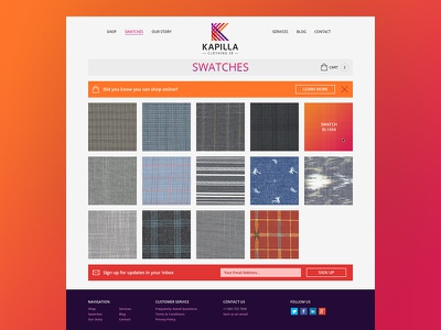 Product Page: Swatches clothing style guide website design navigation products branding ui icons shop gradient
