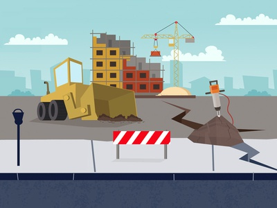 Break New Ground jackhammer construction vector 2d illustration animation
