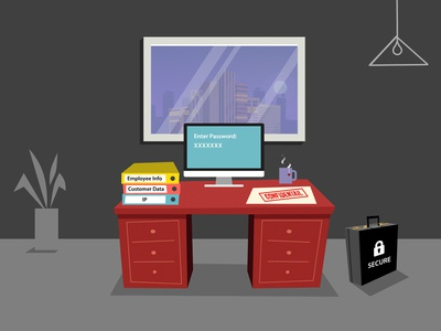 Protect Your Assets office computer desk vector 2d illustration animation