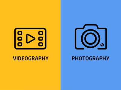 Backpack Artists Icons videographer video vector photographer icon film camera branding