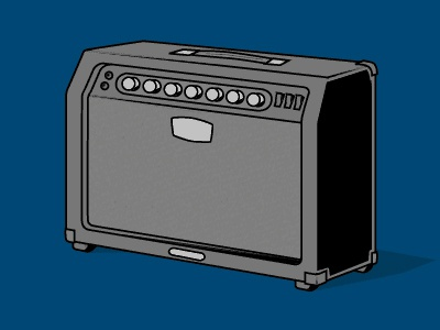 Amplifier vector cartoon illustration guitar amp amplifier