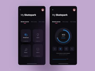 Skatepark IoT UI mobile skateboarding app ux ui design
