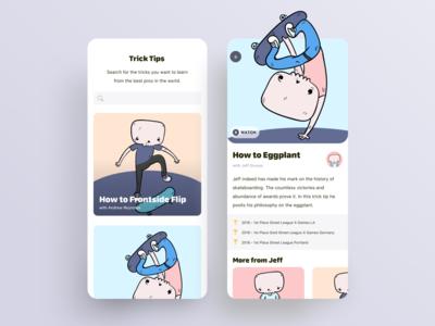 Skateboarding Trick Tips UI skateboarding mobile app ux ui design