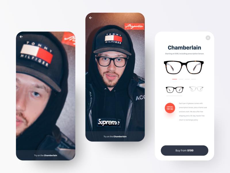AR Glasses App UI ecommerce mobile augmented reality app ux ui design