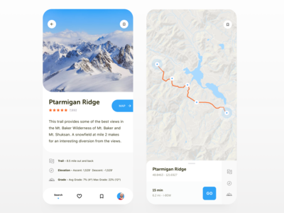Hiking Guide App UI