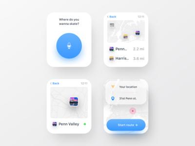 Watch Skatepark Finder UI skateboarding mobile app ux ui design