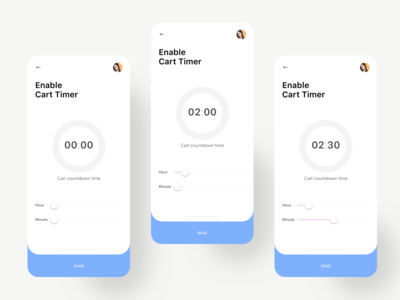 Enable Cart Timer Admin UI mobile ecommerce app design app ux ui admin template