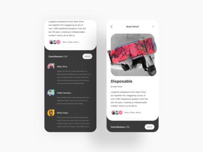 Book Detail UI skateboarding mobile app ux ui design