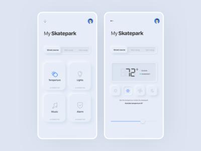 Skatepark IoT Neumorphic UI iot neumorphic skateboarding mobile app ux ui design
