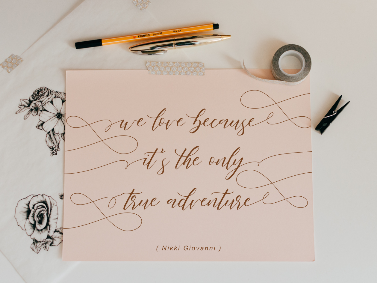 The Only True Adventure handlettering typography calligraphy font modern calligraphy calligraphy font adventure lovely love