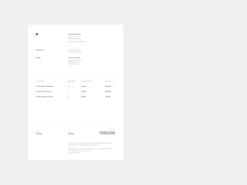 Personal Brand — Invoice side projects stash clients brand invoice