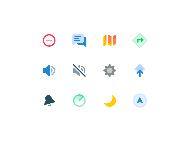 WIP icon set navigation directions night radar home settings chat map mute sound ui icon
