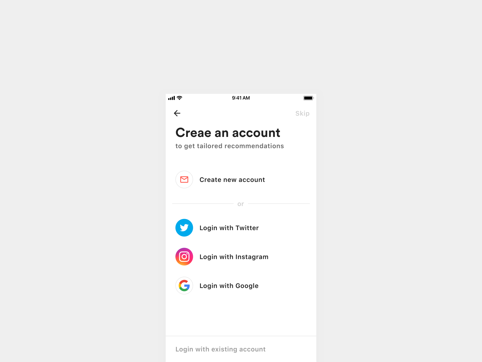 Sign Up Page dailyui 001 dailyui signin signup iphone minimal mobile ios ux ui