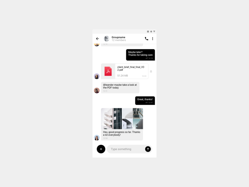Daily UI 013 — Chat Interface app dailyui android minimal mobile ios ux ui message chat