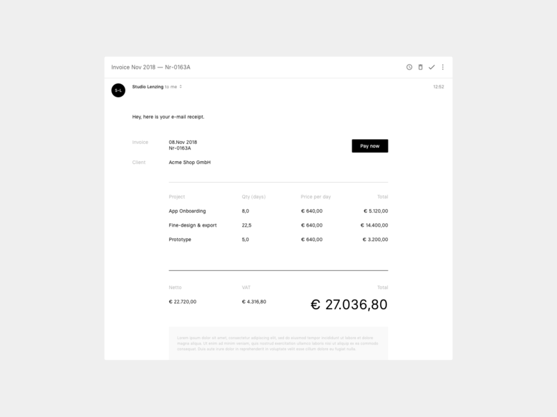 Daily UI 017 — E-Mail Receipt minimal bill invoice receipt email 017 dailyui