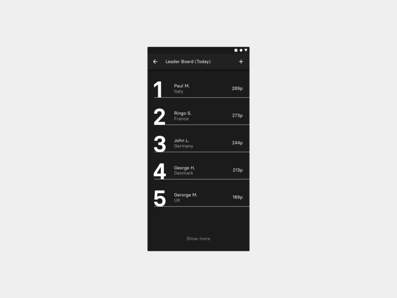 Daily UI 019 — Leader Board brutal dailyui app android ios mobile minimal ui leader leaderboard