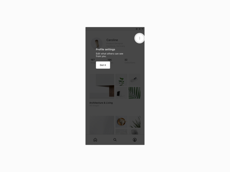 Daily UI 023 — Onboarding Hint profile dailyui app android mobile minimal ios ux ui onboarding