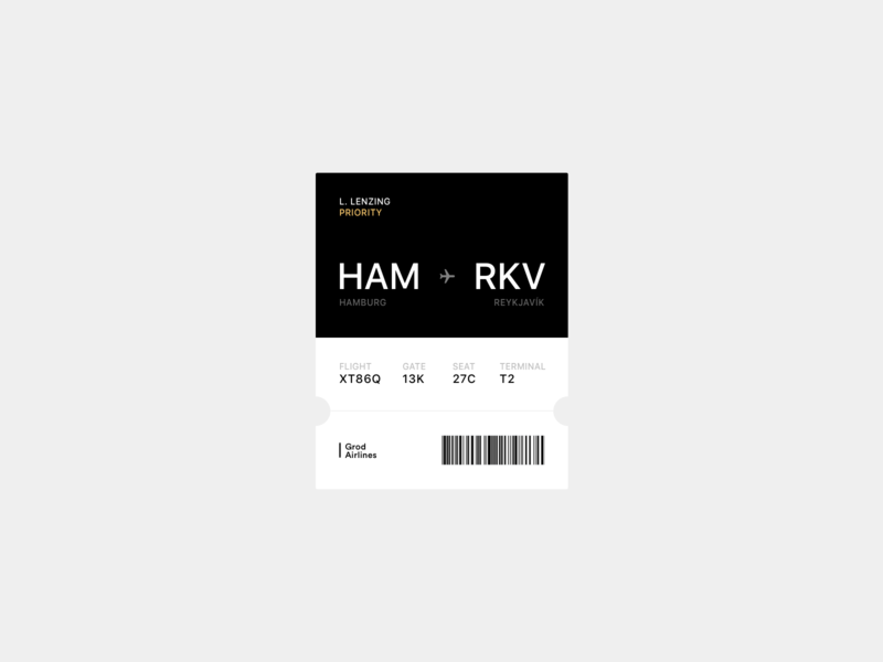 Daily UI 024 — Boarding Pass iphone app dailyui android minimal ios ux ui flight app passcode wallet ticket flight passbook