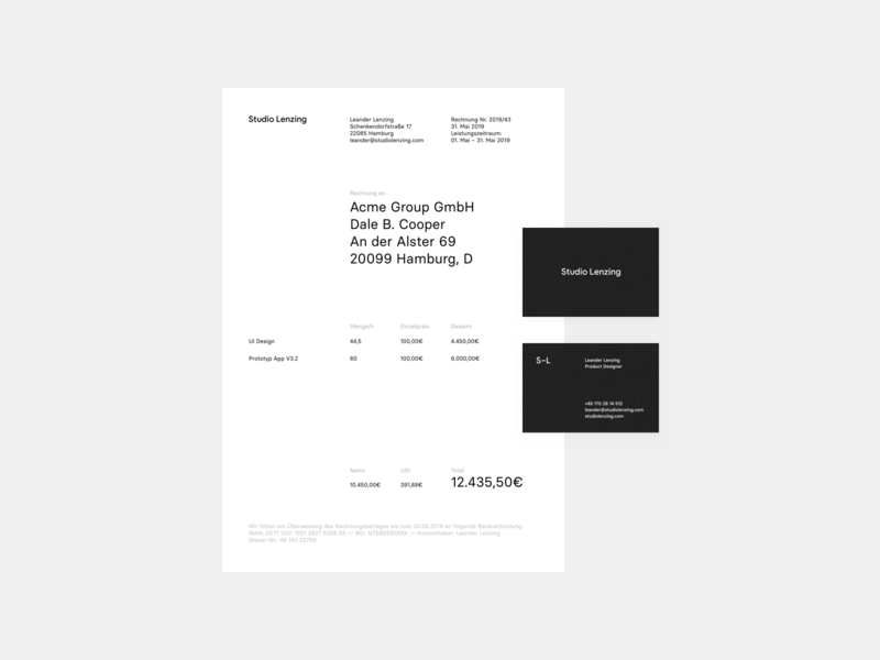 Updated CI materials studio lenzing invoice corporate identity ci