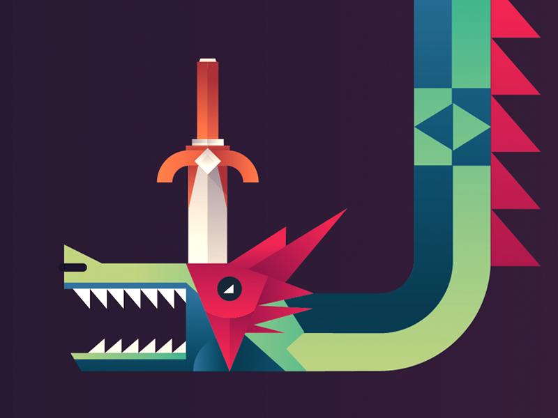 Dragonslayer dragon sword gradient illustration book children wip