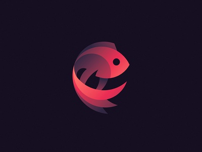 Siamese Fighting Fish design colour gradient logo circle fish icon tom mammal animals animal sea